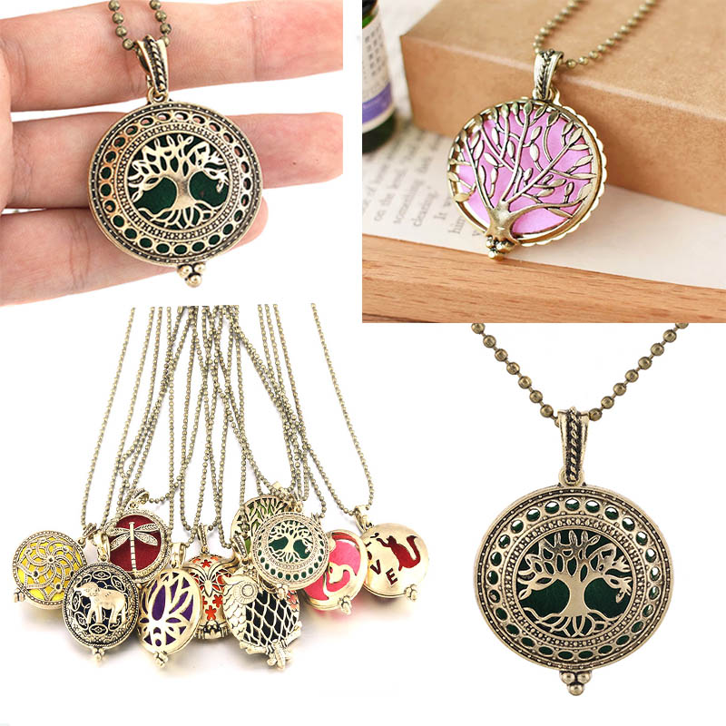 Aroma Diffuser Locket Necklace Pendant Stainless Steel Random And Felt Pads A46