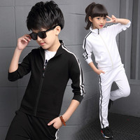 Teenager boys clothing sport suit kids girls clothing set zipper jacket+long pant 2pcs striped children tracksuit set for 4 16Y