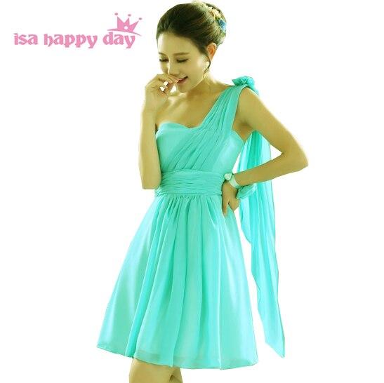 short bridesmaid dress bridesmaid woman dress sweetheart 2020 green chiffon bridesmaids' bridemaid one shoulder dresses H1596