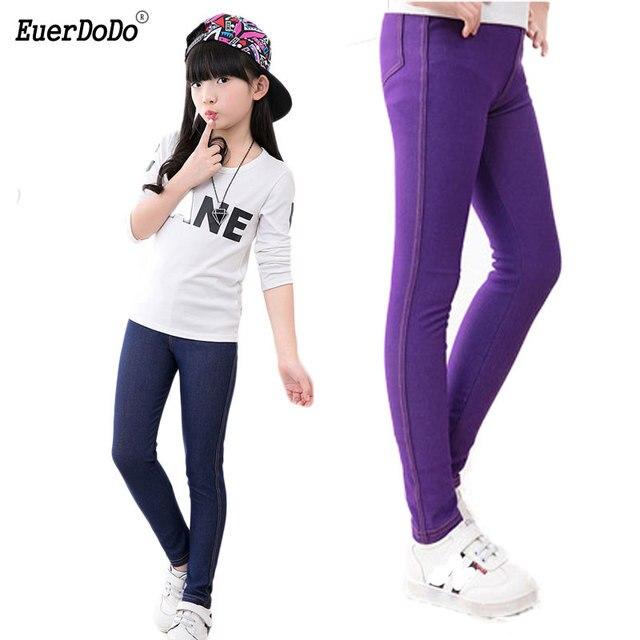 9f99259c9662b High-stretch Leggings For Girls Spring Autumn Denim Girls Pants Teenager Pencil  Pants Children Jeans Trousers Baby Bottom