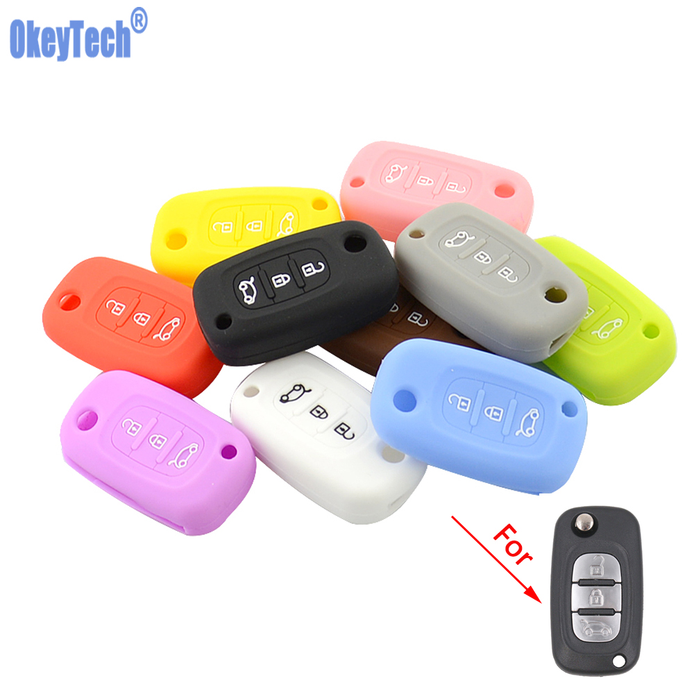 OkeyTech Silicone Car Key Cover For LADA Vesta Granta XRay Kalina Priora Sedan Sport For Renault Fit Benz Key Case Protector