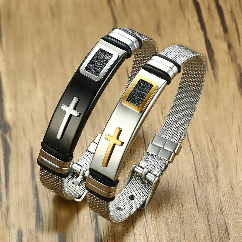 Vnox Länge Verstellbar Armband für Frauen Männer Armbanduhr Band Design Edelstahl Net Band Christus Kreuz Gebet Männlichen Schmuck