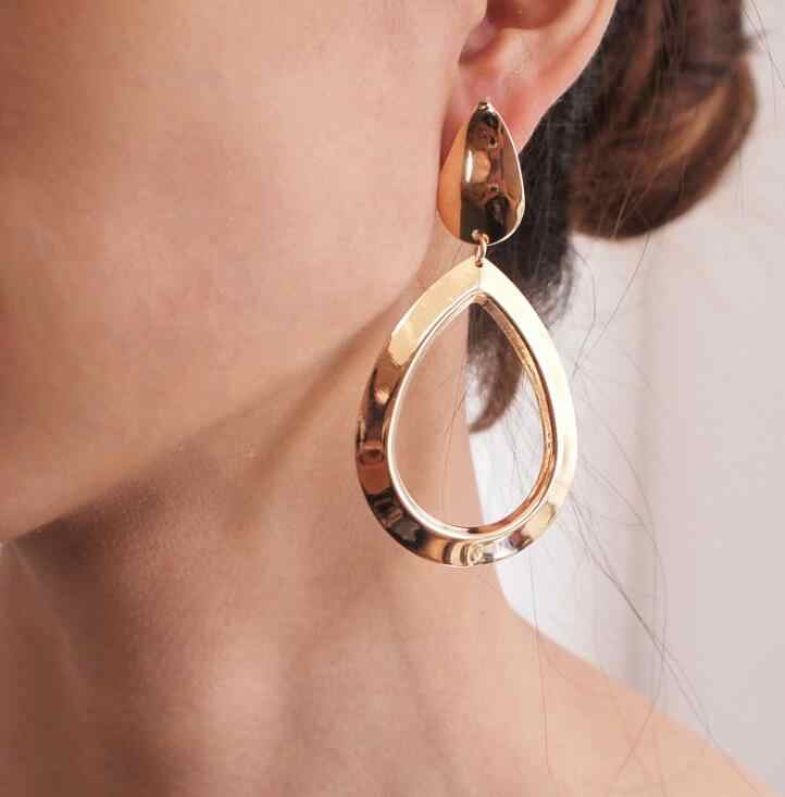 Vintage Water Drop Oval Dangle Drop Earrings for Women Gold Color Geometric Statement Earring Metal Hanging Fashion Jewelry