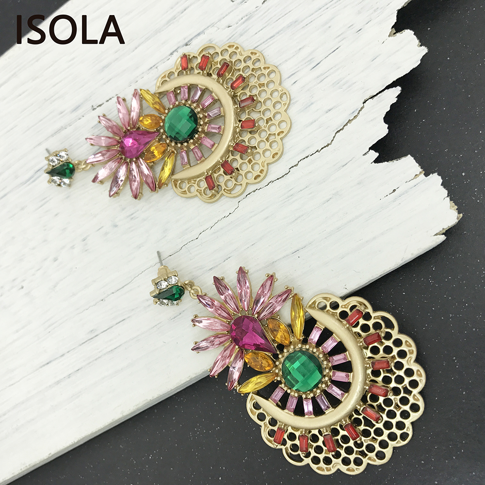 07540f9e0c ISOLA Cute Purple Rhinestone Flower Settle On Hollow Round Zinc Embellished  With Colorful Rhinestone Royal Baroque Earrings-in Drop Earrings from ...