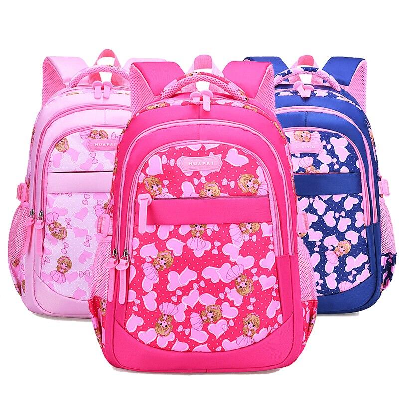 New Cartoon printing Nylon princess Zipper Children School Bags For Teenagers Girls mochila Kids Book Bag Big Capacity Backpack in School Bags from Luggage Bags