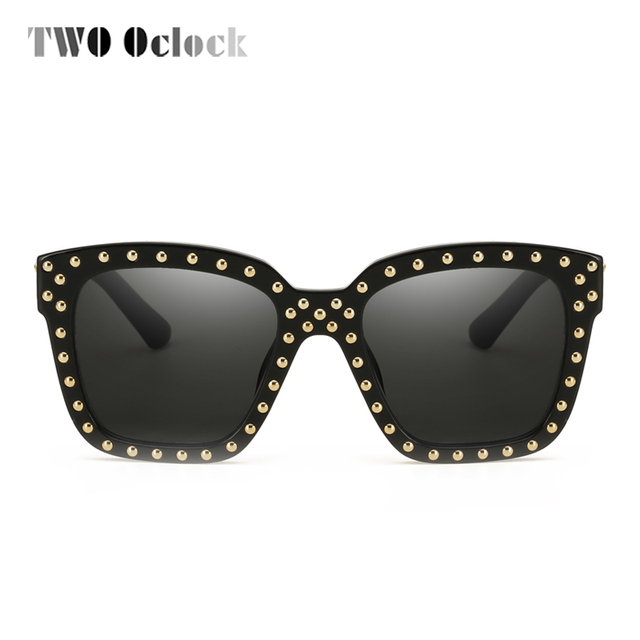 cc33cd63a0 TWO Oclock Oversized Square Sunglasses Women Men Vintage Rivet Sun Glasses  UV400 Big Frame Eyeglasses Shades oculo de sol X58013