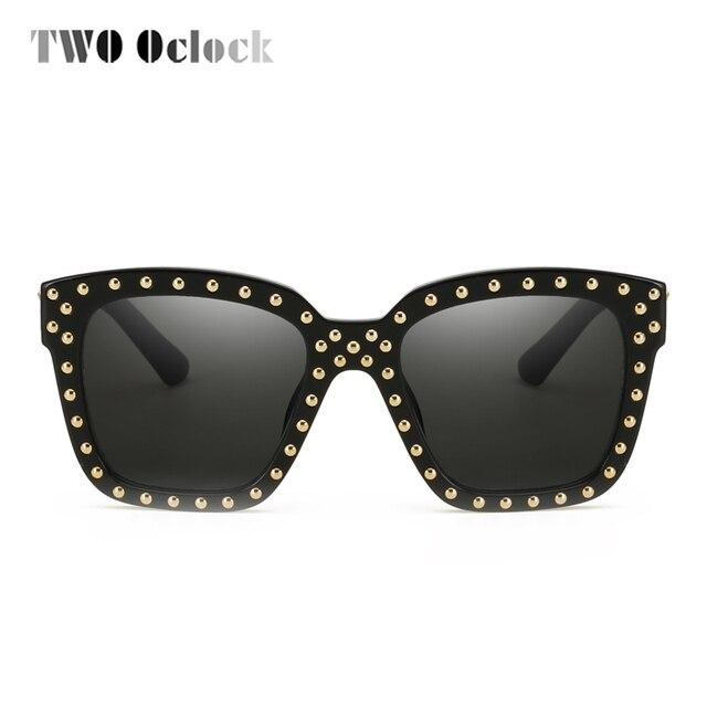 cc33cd63a0 TWO Oclock Oversized Square Sunglasses Women Men Vintage Rivet Sun Glasses  UV400 Big Frame Eyeglasses Shades oculo de sol X58013