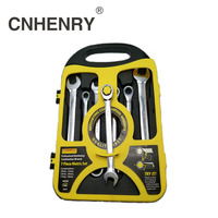 8 19mm 7PCS Professional Rtacheting Combination Wrench Set with Keys Gear Ring Reversible Wrench Set