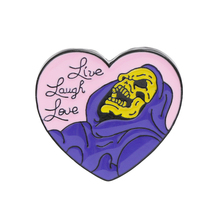 Live Laugh Love enamel pin Heart shape Skeleton Badge Brooch Lapel for Denim Jeans shirt bag Gothic Jewelry Gift friend