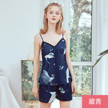 Silk Imitation Sling Lounge Set Sexy Nightgown Women Sexy Sleepwear Women Home Wear Nightwear Sight Suit Night Gown(China)