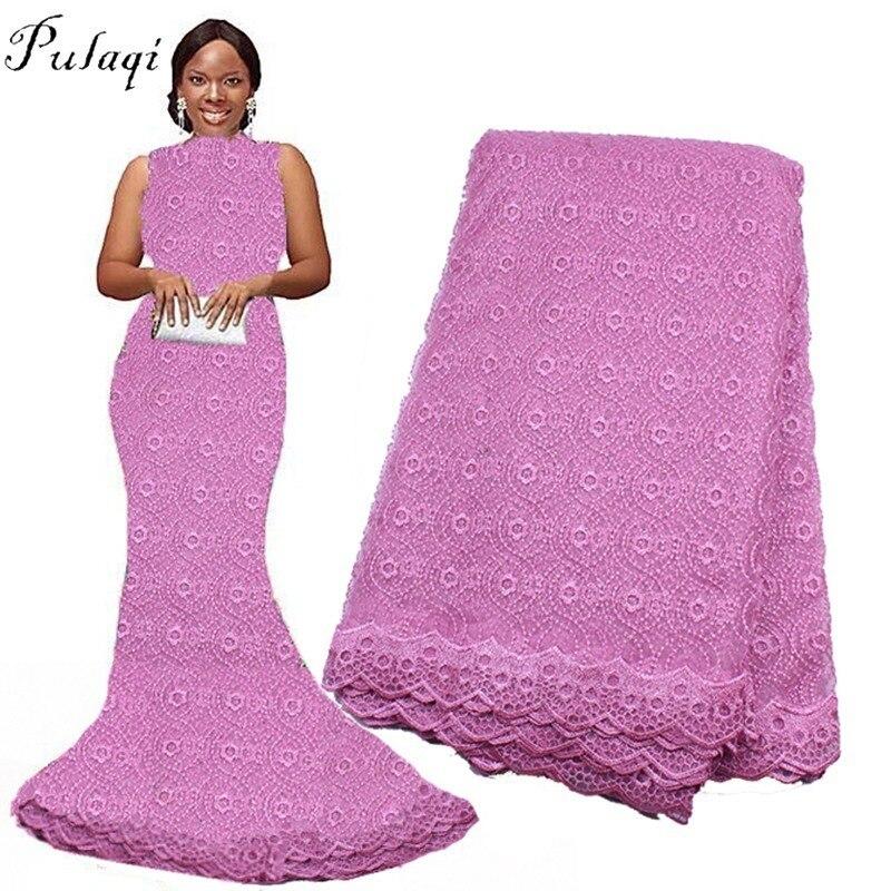 Pulaqi 5 Mètres Brode Coton Africain Dentelle Tissu 2018 Nigeria Dentelle Coton Africain Dentelle Tissu Pour Robe De Soirée De Mariage H