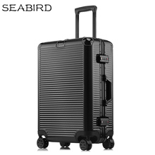 "SEABIRD 20 ""22"" 24 ""26"" 29 дюймов алюминиевый каркас чемодан на колесиках для путешествий Спиннер переносить на каюте прокатки Hardside чемодан"