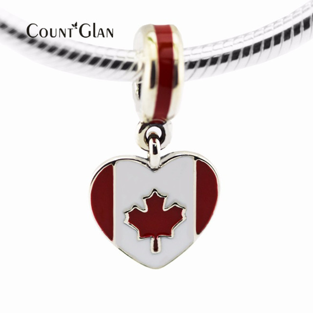 Sterling-Silver-Jewelry Canada Heart Flag Beads Silver 925 DIY for Jewelry Making Fit Women Charms Bracelets & Bangles