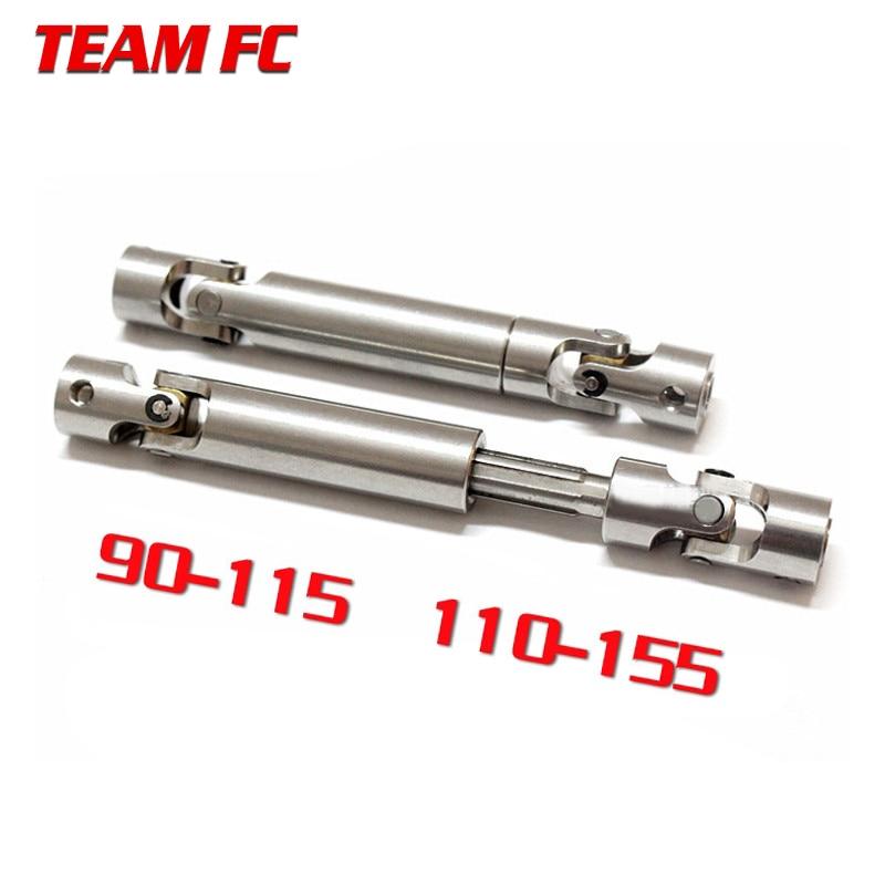 2pcs 90-115mm 110-155mm Steel CVD Universal Joint Drive Shaft For 1/10 RC Rock Crawler Car SCX10 D90 S272