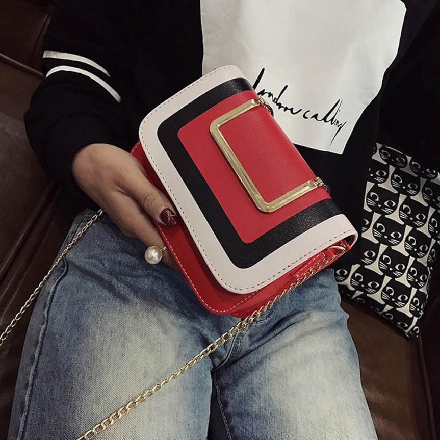 Для женщин Мода Искусственная кожа ретро хит цвет цепь сумка через плечо сумка женская сплошной цвет пряжки небольшой площади сумка # F
