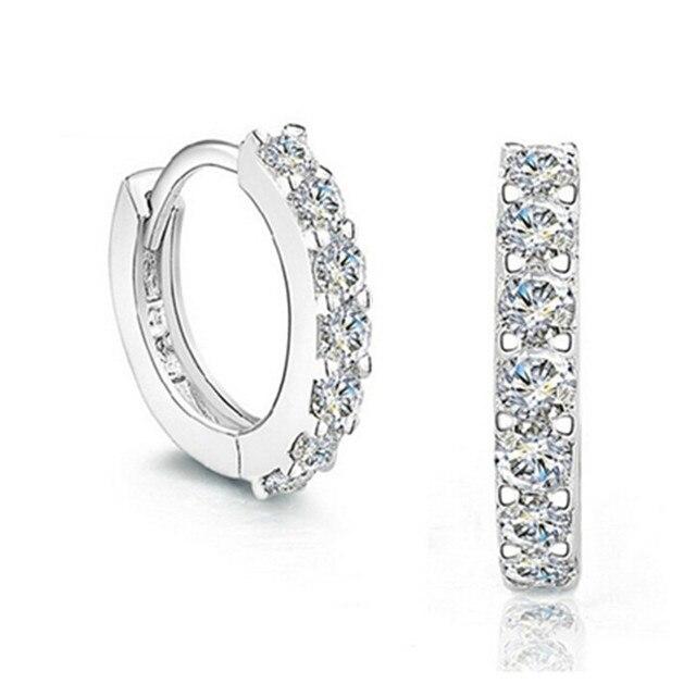 For Women 2016 Top-Selling Trendy Round Earrings AAA Cubic Zirconia Sterling 925 Silver Luxury Charm Hoop Earring Jewelry E52