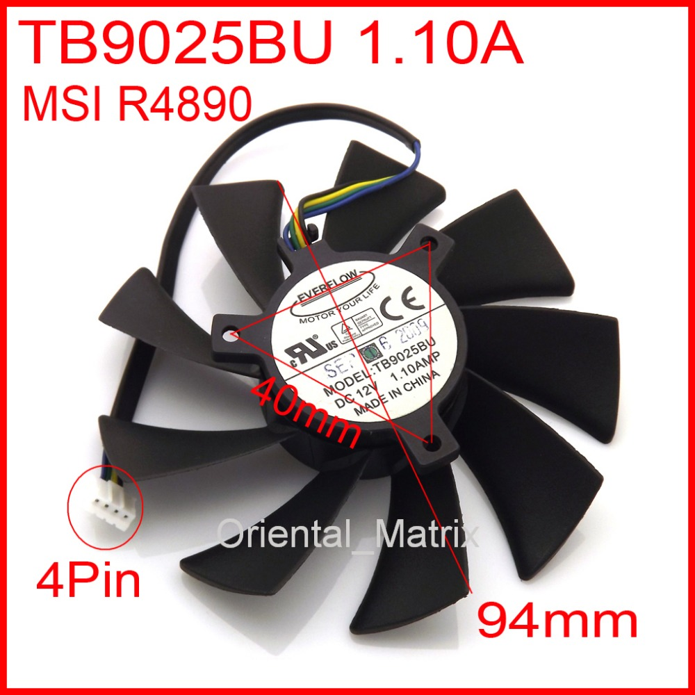 Free Shipping New B9025BU 12V 1.10A 94mm For MSI R4890 Graphics / Video Card Cooler Cooling Fan 4Pin 4Wire 75mm pld08010s12hh graphics video card cooling fan 12v 0 35a twin for frozr ii 2 msi r6790 n560gtx r6850 n460gtx dual cooler fan