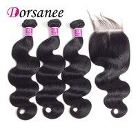 Dorsanee Hair 3 Bundles Brazilian Body Wave Hair With Closure 4 4 3Part 4pcs Lot Non
