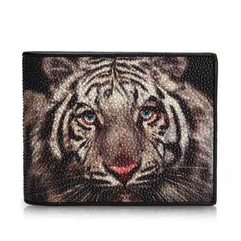 Unique Tiger Designer Genuine Stingray Skin Leather Male Small Clutch Purse Wallet Men Short Trifold Wallet Man Card Holder