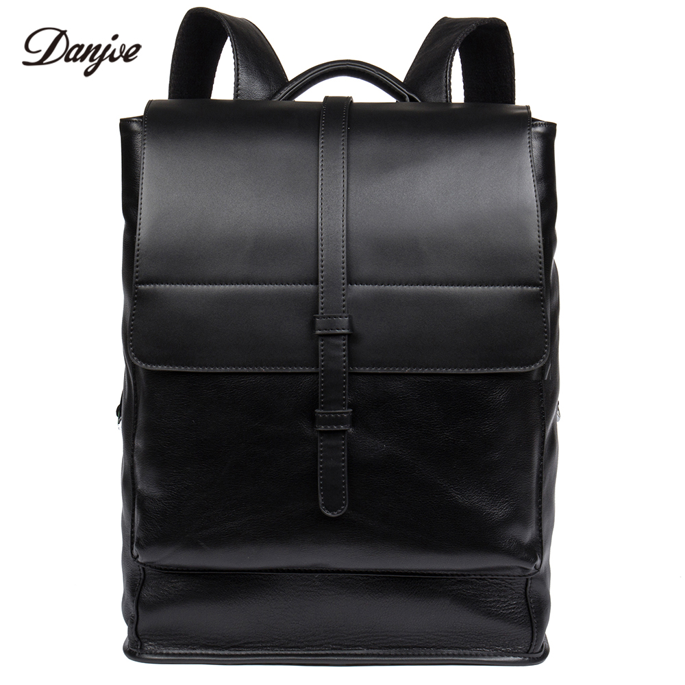 DANJUE Daily Men Backpack Genuine Leather Men Bag Large Capacity Travel Bags Male Real Leather School Bag Business Laptop Bag real genuine leather vintage backpack men school male daily backpack coffee gray fashion leisure men s travel bags vp j7280