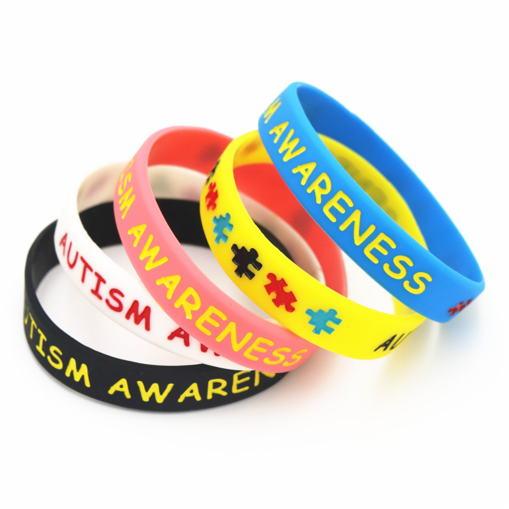 LUKENI 5PCS Colorful Autism Awareness Puzzle Silicone Wristbands Daily Reminder Puzzle Sillicone Rubber Bracelets&Bangles SH075