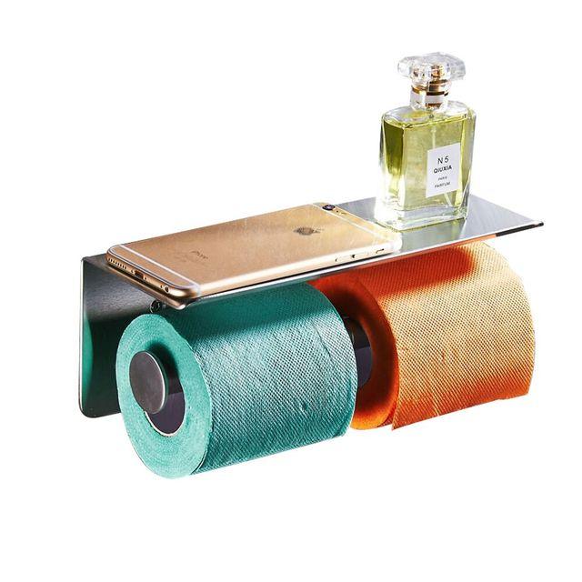 Moderna superior 304 Acero inoxidable papel higiénico titular del teléfono  móvil Hotel cromo pulido accesorios de f3ae9bf623c3