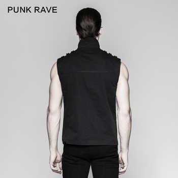 Punk Rave Rock Fashion Black Goth Steampunk Armour Sleeveless Personality Men\'s T-Shirt Y741