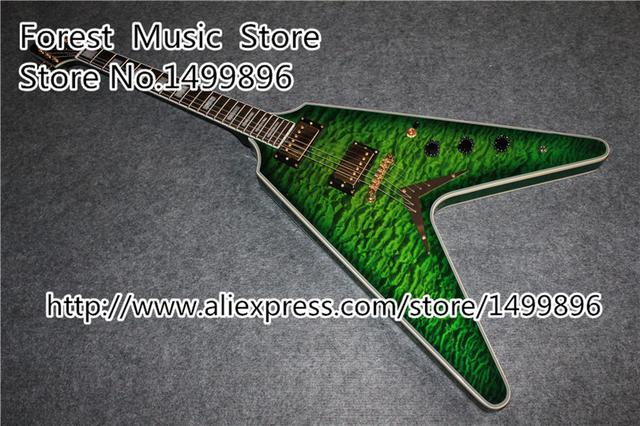 Cheap Top Selling Emerald Green Quilted Flying V Electric Guitarra China OEM Body & Kits Custom Available