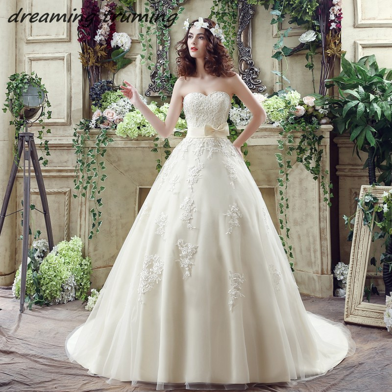 Champagne Vintage Wedding Dresses: White/Light Champagne Wedding Dress Ball Gowns Appliques