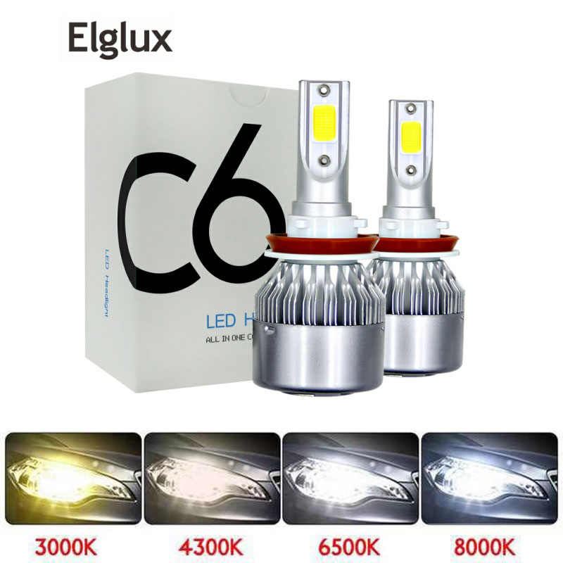 2 pcs Car Led Headlight Bulbs Lamp H4 H7 H11 72W H8 HB4 H1 H3 HB3 Auto Car High Low Beam 3000K 6000K 12V Light Source Visture