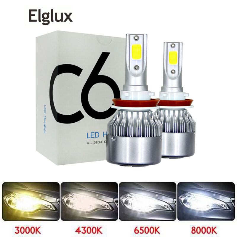 2 Pcs Car Led Headlight Bulbs Lamp H4 H7 H11 72W H8 HB4 H1 H3 HB3 Auto Car High Low Beam 3000K 6000K 8000K 12V Light Source