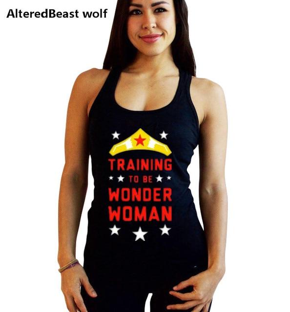 dfe0d3b6fbbb4 Mulher maravilha impressão Musculação Academias Regatas verão de fitness  mulheres de Algodão Mulheres colete top O