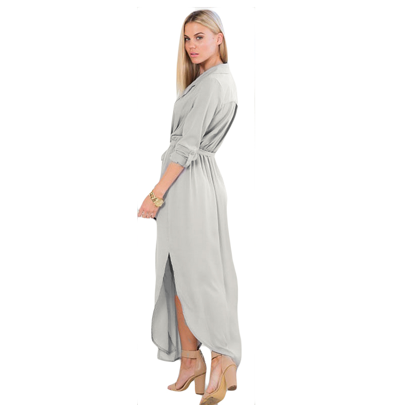 e8a09d3b5e7 Black Long Maxi Tshirt Dress 2015 New Arrival Women Fashion Linen Cotton  Loose Dress Shirt Dress Black Army Green Grey With Belt-in Dresses from  Women s ...
