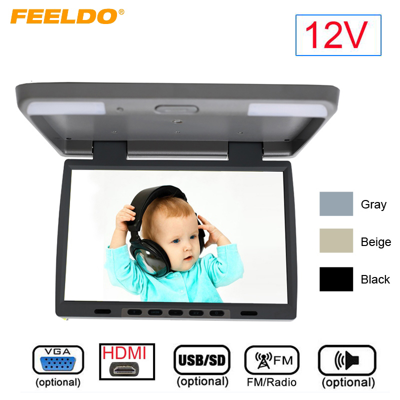 DC12V 15.4 Polegada Carro/Ônibus TFT LCD Telhado Monitor Montado Flip Down Monitor 2 Entrada de Vídeo Maneira com HDMI/VGA/USB/SD/FM Speaker