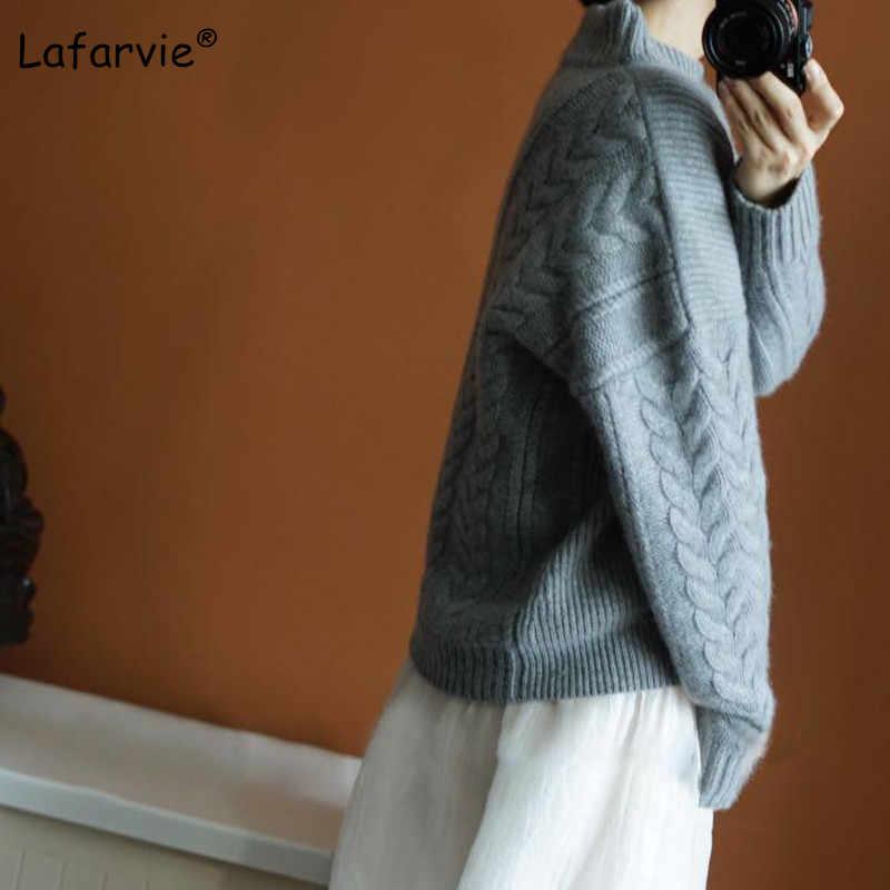Lafarvie 새로운 가을 겨울 여성 스웨터와 풀 오버 터틀넥 느슨한 두꺼운 뜨개질 캐시미어 스웨터 여성 따뜻한 고품질