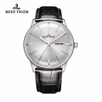 Reef Tiger/RT Classic Casual Watches Convex Lens Genuine Leather Strap Steel Automatic Watches with Date Day RGA8238 1
