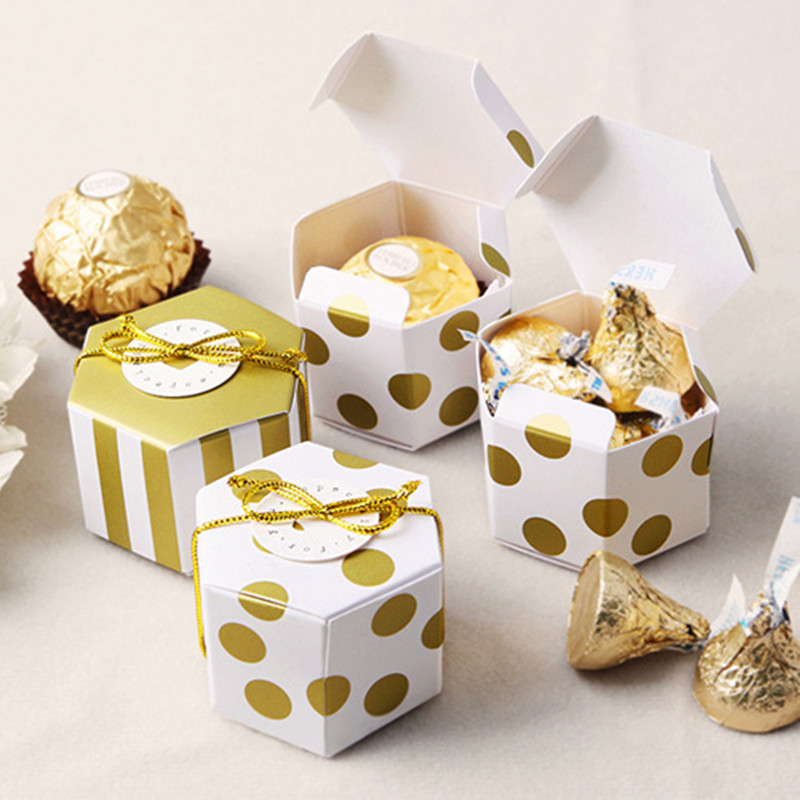 100pcs Mini Lovely Gold Round Dot Gold Striped Paper Candy Boxes For Baby Shower Gift Box Birthday Wedding Party Favor Box
