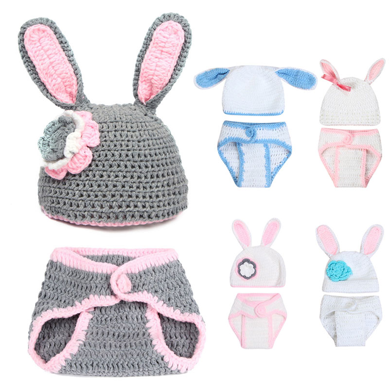 Baby Newborn Photography Props Knitted Rabbit Costume for Baby Photography Photo Props Accessories Fotografia Baby Hat crochet baby costume set knit rabbit hat newborn photography props carrot hat pants 3 pieces set baby photo shoot accessories