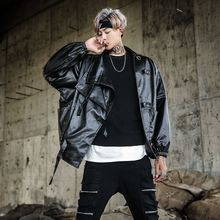 2017 Autumn/winter New CAUSAL loose Hip Hop style men's PU leather jacket fashion motorcycle super handsome black Coat M-2XL