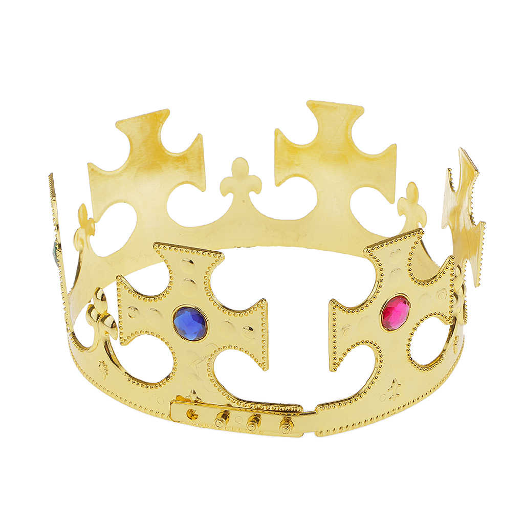 참신 빈티지 골드 플라스틱 킹스 퀸즈 크라운 로얄 멋진 드레스 파티 의상 모자 액세서리 성인을위한