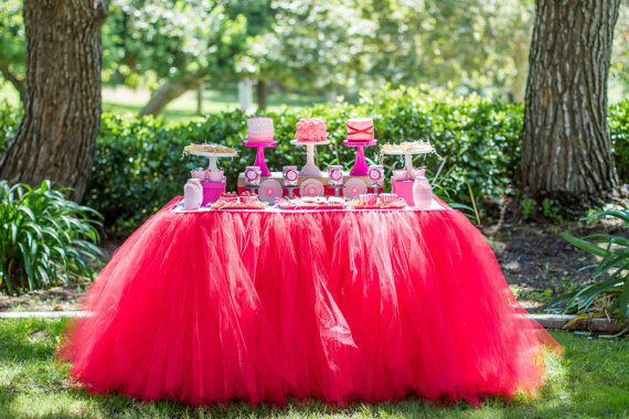 Tulle Table Skirt, Tutu Tableskirt for Wedding, Birthday, Baby Shower- Custom Size, Made to Order