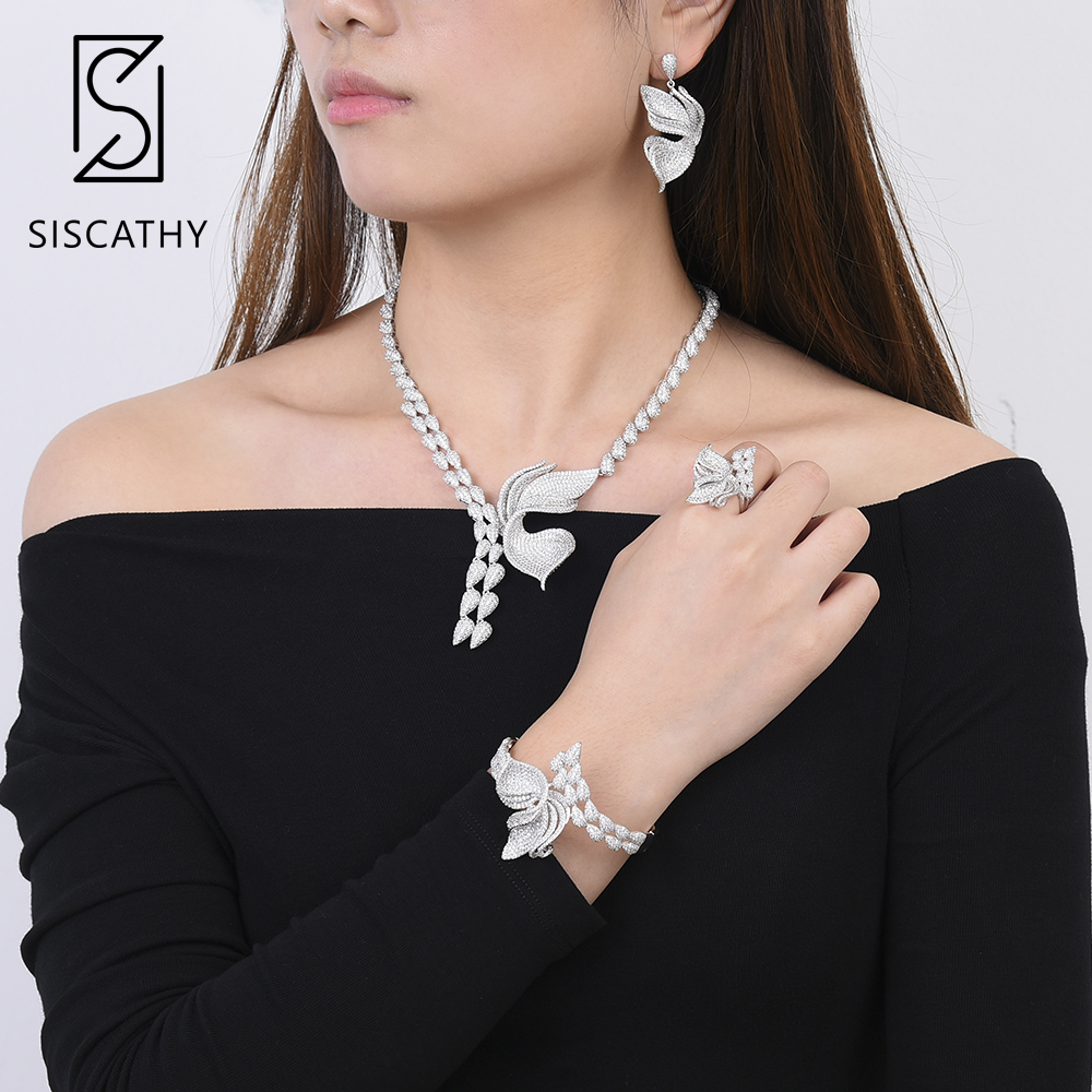 Siscathy 4PCS Deluxe Women Bridal Wedding Necklace Dangle Earrings Bracelet Ring Women Jewelry Sets Cubic Zirconia Jewelry 2019