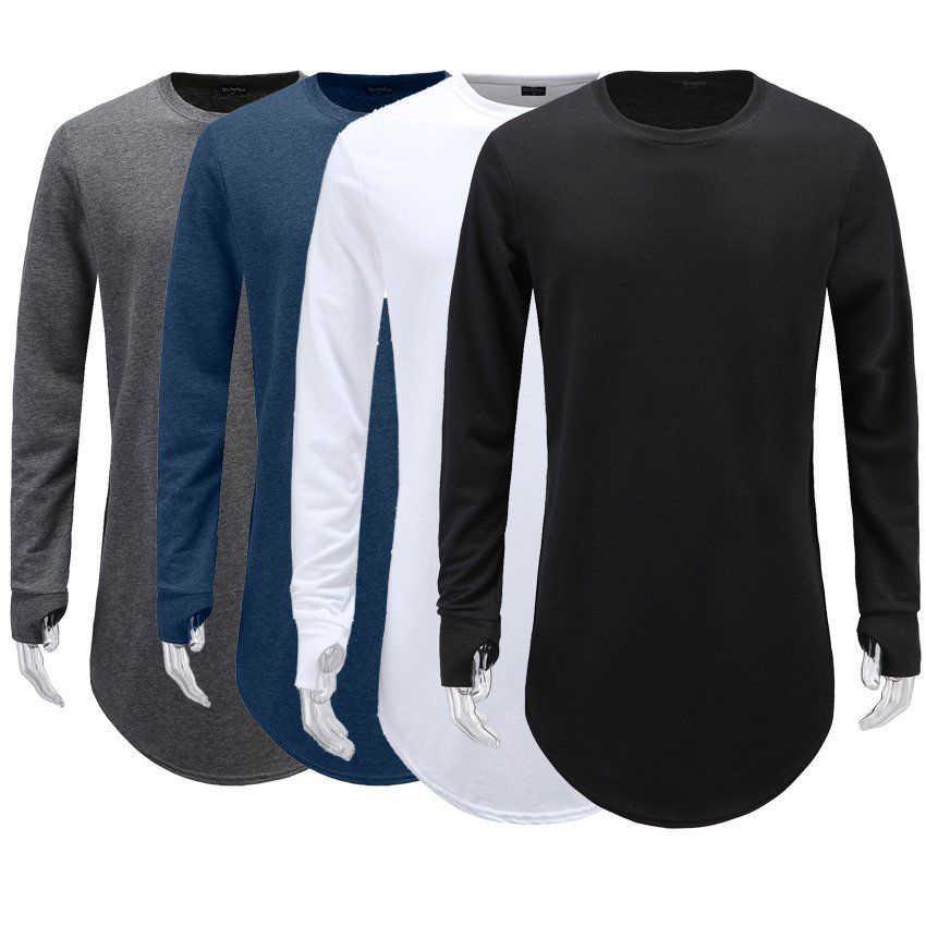 Мужская футболка с длинными рукавами и дырками для большого пальца, базовая хипстерская футболка, мужская одежда в стиле хип-хоп, Homme, круглый воротник, однотонная уличная одежда, новинка