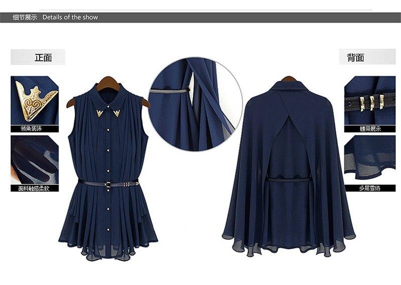 vestidos de fiesta Womens Chiffon Cloak Blouse Shirts Tops Elegant Navy Blue Beige Chiffon Cloak Sunscreen Tops Ladies Fashion  (18)