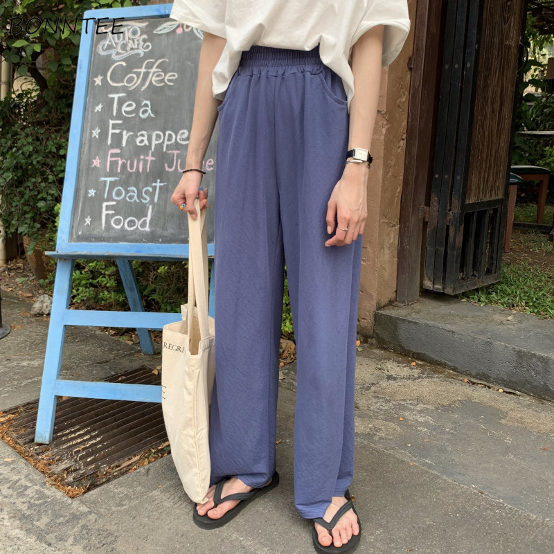 Pants   Women New Summer Trendy High Waist Loose Wide Leg   Pant   Womens Korean Style Solid Trouser Ladies Simple Elastic   Capris   Girl