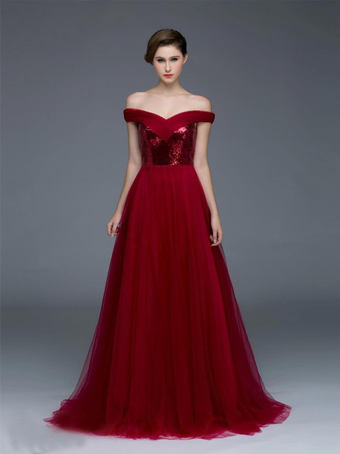 Fast Delivery Luxury Sexy Burgundy Boat Neck Evening Dress Shining ...