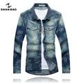 SHAN BAO marca de ropa de otoño e invierno gruesa de manga larga camisa de los hombres de lujo de alta calidad colores jacquard camisa vaquera hombres
