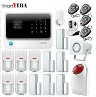 SmartYIBA 2,4G wifi Беспроводная Alarmes 8 защитные зоны с доступом к Интернету Стробоскопическая сирена сигнализация wifi ip камера система безопасности