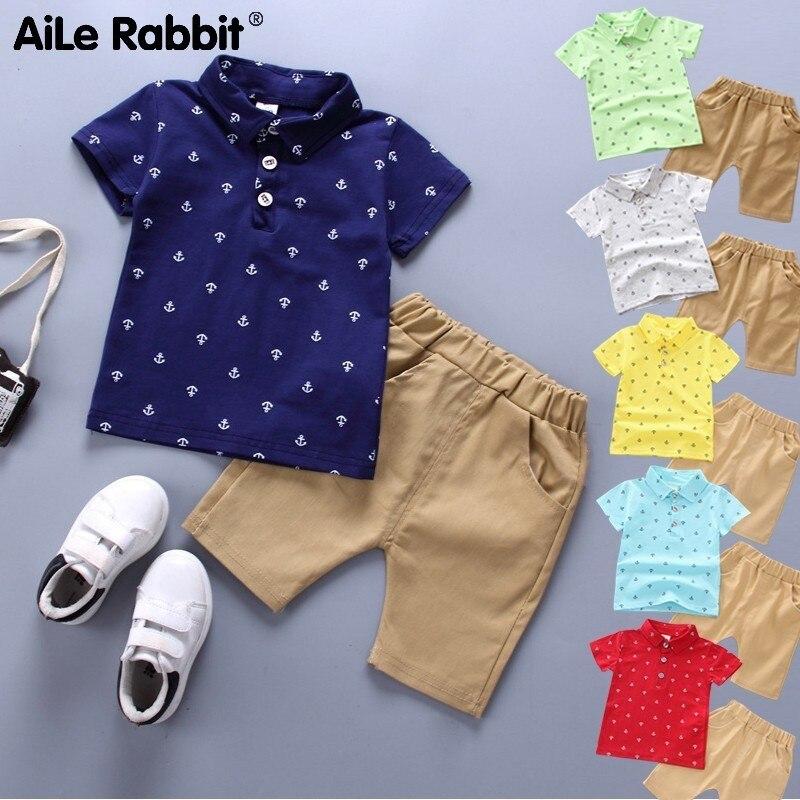 2019 sommer Neue Baumwolle Jungen Passt Beiläufige Baumwolle Junge Kinder Tragen Baby T-shirt + Shorts Hosen 2 Conjunced kleiderschrank Teile