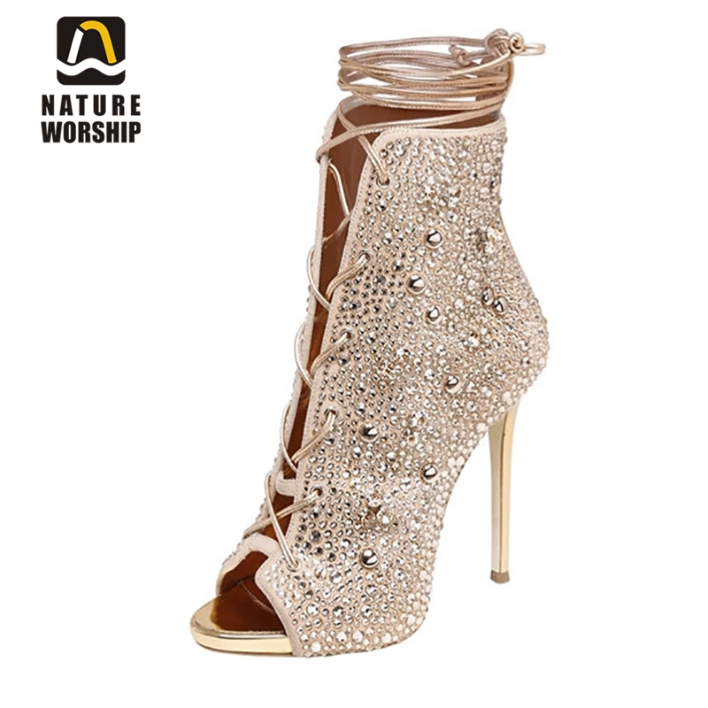 Crystal shoes woman wedding shoes ladies shoes with heels leather gladiator sandals boots high heels sandals party dress pumps